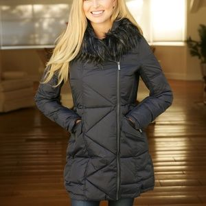 French Connection Asymmetrical Zip Quilted Coat